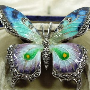Silver Enamel and Marcasite Butterfly Brooch