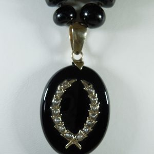 Antique Onyx, Gold and Seed Pearl Mourning Locket